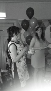 The dreaded speech.Our MC, the lovely Sylda from Mind The Baby looks amused!